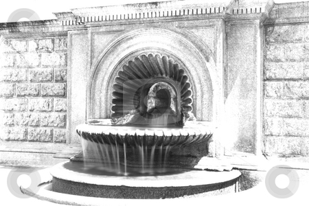 Fountain stock photo, Black and white image of a fountain by Fabio Alcini
