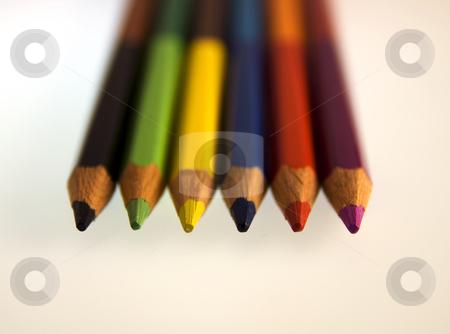 Pencils stock photo, Six coloured pencils on a white background by Fabio Alcini