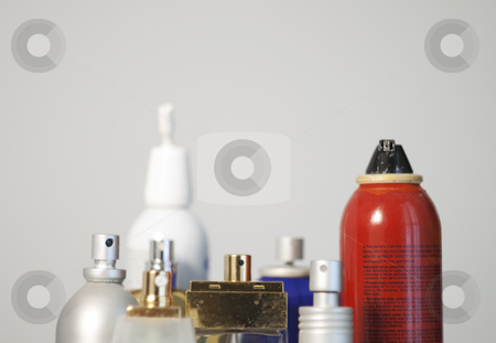 Perfumes stock photo, View of many bottles of variuos sorts of perfume by Fabio Alcini