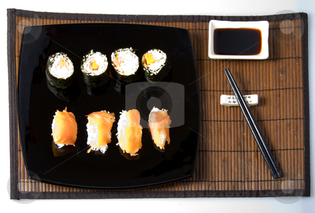 Sushi stock photo, Nighiri sushi and Osomaki on typical Japanese table by Fabio Alcini