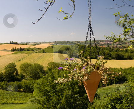 Pleasant place stock photo, Landscape of a pleasant place, with a pending vase of flowers by Fabio Alcini