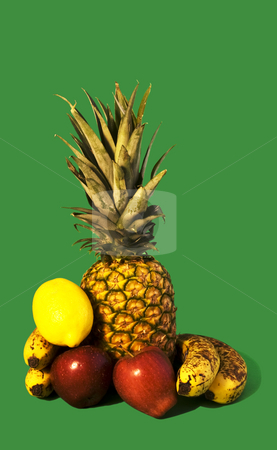 Fruits stock photo, Bunch of fruits on a green background by Fabio Alcini