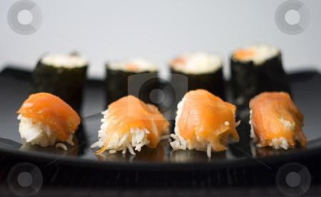Sushi stock photo, Nighiri sushi and Osomaki on typical Japanese table by Fabio Alcini