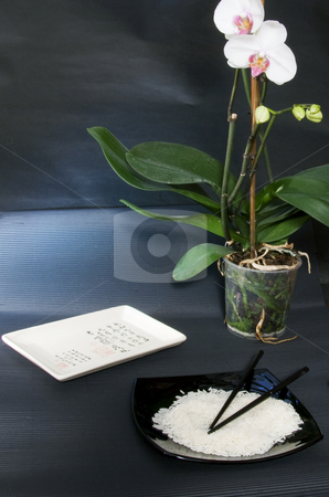Japanese table stock photo, Table with plates, rice and flowers, black background by Fabio Alcini