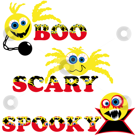 Three scary halloween smileys with text  stock vector clipart, Three scary halloween smileys with text boo scary spooky by Karin Claus