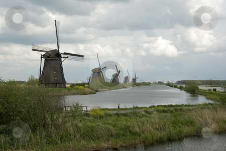 Kinderdijk stock photo, Windmills in holland by Chris Willemsen