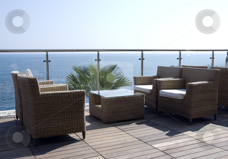 Seats with a sea view stock photo, A place for dinner with a view on the sea in greece on the island crete by Chris Willemsen
