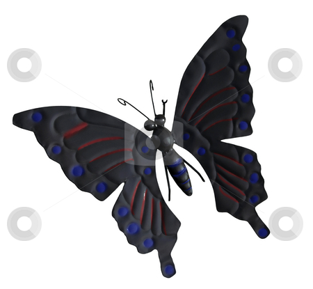 Butterfly stock photo, Metal butterfly isolated against white background by Chris Willemsen