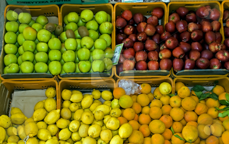 Fruit market stock photo, Fruit market on crete on greece by Chris Willemsen