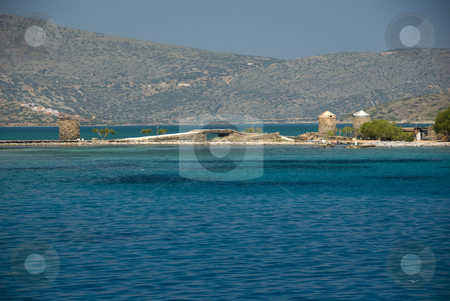 Landscape movieset who pays the ferryman stock photo, The place in Greece, Elounda, where the movie: Who pays the ferryman was recorded by Chris Willemsen
