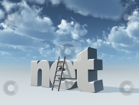Net domain stock photo, Net domain and ladder in front of cloudy sky - 3d illustration by J?