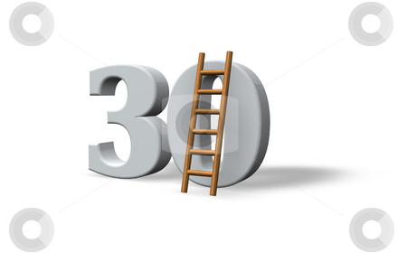 Thirty stock photo, The number thirty - 30 -  and a ladder on white background - 3d illustration by J?