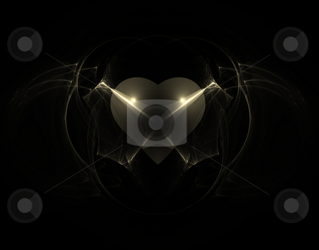 Gothic heart stock photo, Abstract background illustration - gothic heart on black by J?