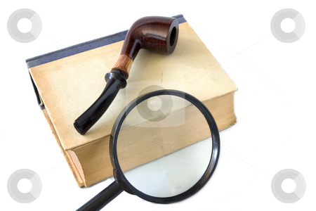 Old book and magnifying glass  stock photo, Old book and magnifying glass on background by Minka Ruskova-Stefanova