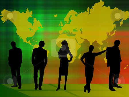 Teamwork stock photo, Teamwork on gradient background with world map by Minka Ruskova-Stefanova