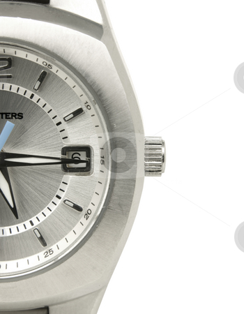Close up of waterproof watch stock photo, Close up of water proof watch on white background by John Teeter