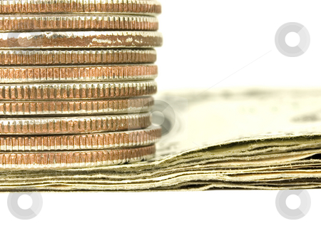 Macro of Money stock photo, Macro of stacked bills and coins on white background by John Teeter