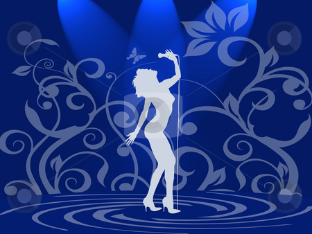 Lady in blue stock photo, Singer on blue background by Minka Ruskova-Stefanova