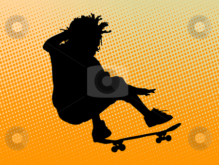 Skating man stock photo, Skating man on orange background by Minka Ruskova-Stefanova