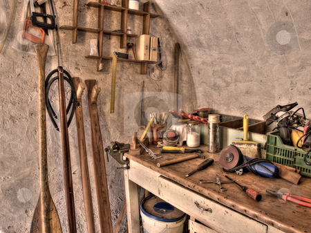 Special carpenter workshop stock photo, The place where someone can make  a wooden paddles or underwater spear guns.Toned HDR image. by Sinisa Botas