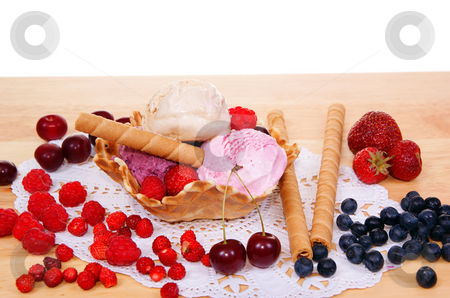 Ice cream stock photo, Fruity ice cream with fruits on the table by Jolanta Dabrowska