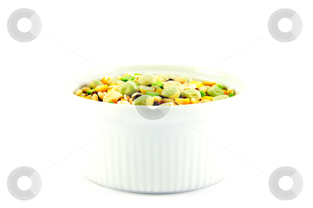 Soup Pulses stock photo, Assorted soup pulses in a small round dish with a white background by Keith Wilson