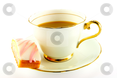 Tea and Cake stock photo, Tea in a cup and saucer with pink slice of cake on a white background by Keith Wilson