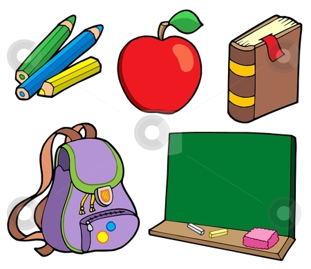 Various school items stock vector clipart, Various school items - vector illustration. by Klara Viskova