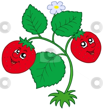 Cute strawberry stock vector clipart, Cute strawberry on white background - vector illustration. by Klara Viskova