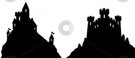 Castles silhouettes stock vector clipart, Castles silhouettes on white background - vector illustration. by Klara Viskova
