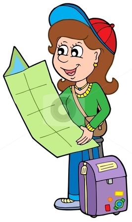 Cartoon girl traveller stock vector clipart, Cartoon girl traveller - vector illustration. by Klara Viskova