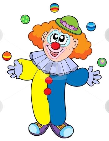 Juggling cartoon clown stock vector clipart, Juggling cartoon clown - vector illustration. by Klara Viskova