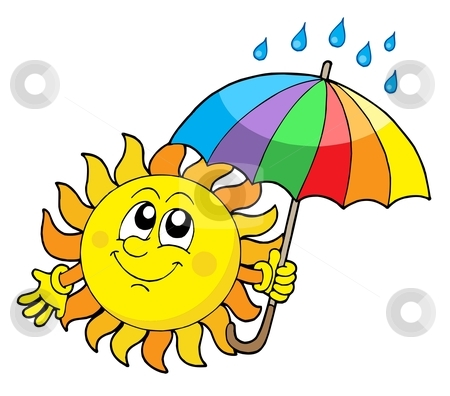 Smiling Sun with umbrella vector illustration stock vector clipart, Smiling Sun with umbrella - vector illustration. by Klara Viskova