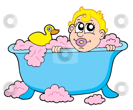 Baby in bath stock vector clipart, Baby in bath - vector illustration. by Klara Viskova