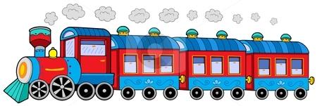 Steam locomotive with wagons stock vector clipart, Steam locomotive with wagons - vector illustration. by Klara Viskova