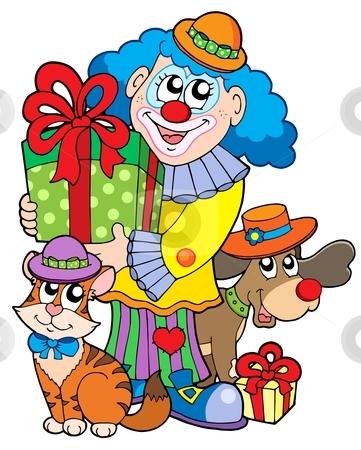 Party clown with cute animals stock vector clipart, Party clown with cute animals - vector illustration. by Klara Viskova
