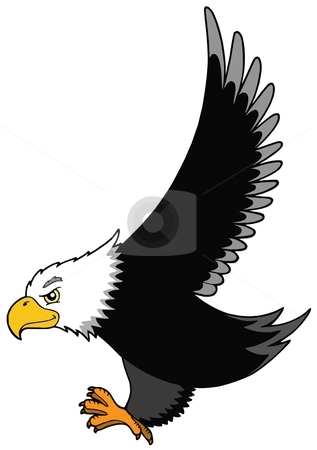 Flying American eagle stock vector clipart, Flying American eagle - vector illustration. by Klara Viskova