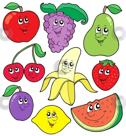 Cartoon fruits collection 1 stock vector clipart, Cartoon fruits collection 1 - vector illustration. by Klara Viskova