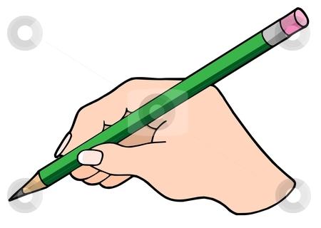 Writing hand with pencil stock vector clipart, Writing hand with pencil - vector illustration. by Klara Viskova