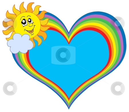 Rainbow heart with Sun stock vector clipart, Rainbow heart with Sun - vector illustration by Klara Viskova