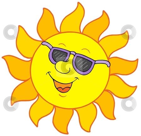 Sun with sunglasses stock vector clipart, Sun with sunglasses - vector illustration. by Klara Viskova