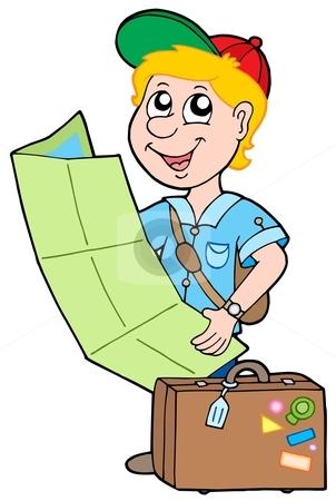 Small traveller stock vector clipart, Small traveller on white background - vector illustration. by Klara Viskova