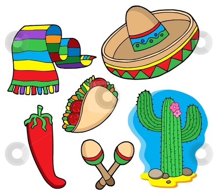 Mexican collection stock vector clipart, Mexican collection, objects - vector illustration. by Klara Viskova
