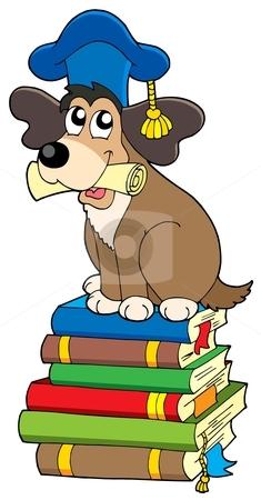 Dog teacher on pile of books stock vector clipart, Dog teacher on pile of books - vector illustration. by Klara Viskova