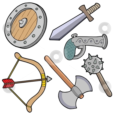 Weapons collection stock vector clipart, Weapons collection - vector illustration. by Klara Viskova