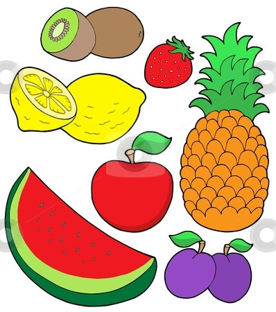 Fruit collection 2 stock vector clipart, Fruit collection 2 on white background - vector illustration. by Klara Viskova