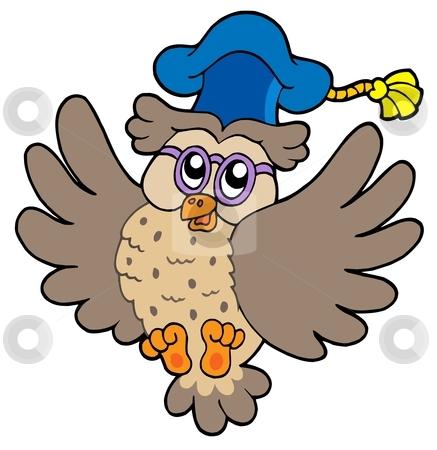 Flying owl teacher stock vector clipart, Flying owl teacher - vector illustration. by Klara Viskova