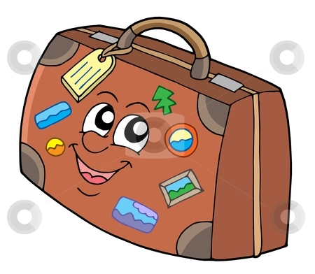 Cute suitcase stock vector clipart, Cute suitcase on white background - vector illustration. by Klara Viskova