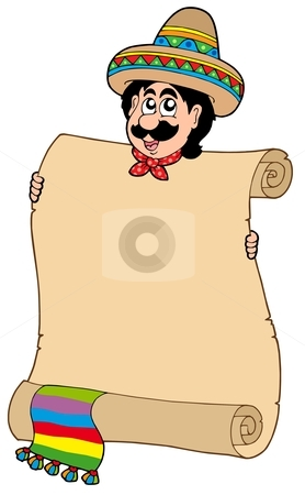 Mexican man with scroll stock vector clipart, Mexican man with scroll - vector illustration. by Klara Viskova