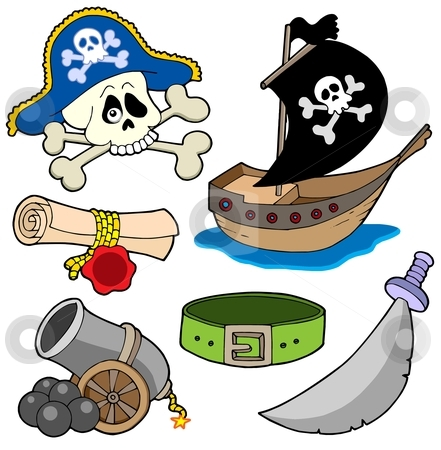 Pirate collection 3 stock vector clipart, Pirate collection 3 - vector illustration. by Klara Viskova